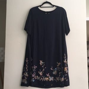 Ann Taylor LOFT Bird Embroidered T-Shirt Dress